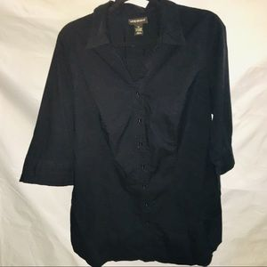 Lane Bryant Black button up 3/4'sleeve blouse 18